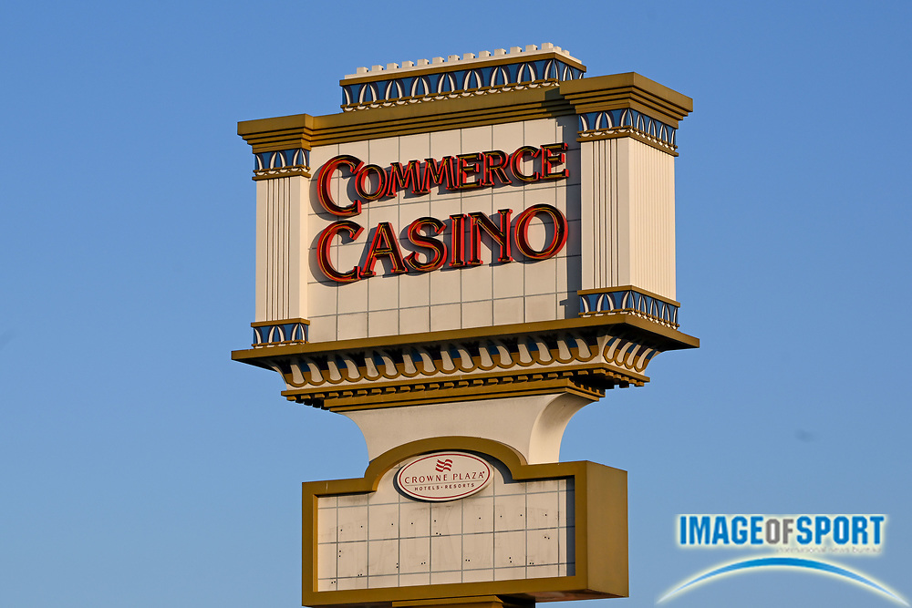General overall view of Commerce Casino signage, Tuesday, Sept. 22, 2020, in Commerce, Calif. (Dylan Stewart/Image of Sport)