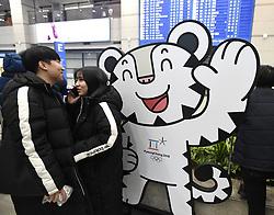 February 5, 2018 - Pyeongchang, South Korea - A giant cutout of Soohorang, the Pyeongchang Olympic mascot, greets international passengers arriving at the Incheon International Airport in Seoul, S. Korea. (Credit Image: © Mark Reis via ZUMA Wire)
