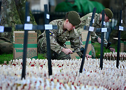 © Licensed to London News Pictures. 06/11/2012. Westminster, UK Soldiers prepare the Field of remembrance at Westminster Abbey today 6th November 2012 prior to it's opening on Thursday 8th November 2012 . The Field of Remembrance at Westminster Abbey pays tribute to all the brave Service men and women who have served in our Armed Forces since World War I. Photo credit : Stephen Simpson/LNP