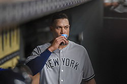May 1, 2018 - Houston, TX, U.S. - HOUSTON, TX - MAY 01: New York Yankees outfielder Aaron Judge watches play from the dugout during the baseball game between the New York Yankees and Houston Astros on May 1, 2018 at Minute Maid Park in Houston, Texas (Photo by Ken Murray/Icon Sportswire) (Credit Image: © Ken Murray/Icon SMI via ZUMA Press)
