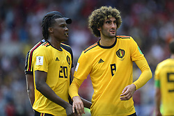 June 23, 2018 - Moscou, Russie - MOSCOW, RUSSIA - JUNE 23 : Dedryck Boyata defender of Belgium and Marouane Fellaini midfielder of Belgium pictured after the FIFA 2018 World Cup Russia group G phase match between Belgium and Tunisia at the Spartak Stadium on June 23, 2018 in Moscow, Russia, 23/06/2018  (Credit Image: © Panoramic via ZUMA Press)