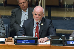 "May 19, 2017 - New York, NY, United States - General Assembly President Peter Thomson is seen offering his remarks. Regarding the implementation of the Sustainable Development Goals framework, the United Nations convened ""Gateway Portals to the City: Infrastructure for Sustainable Urbanization,'' a day-long symposium on architecture, urban design and the UN's Sustainable Development Goals framework co-organized UN Human Settlements Programme (UN-Habitat), the Consortium for Sustainable Urbanization (CSU) and the American Institute of Architects New York Chapter (AIA-NY), at UN Headquarters. IN addition to opening remarks by General Assembly President Peter Thomson and Economic and Social Council President Frederick Musiiwa Makamura Shava, famed architect Santiago Calatrava offered the opening keynote address. (Credit Image: © Albin Lohr-Jones/Pacific Press via ZUMA Wire)"