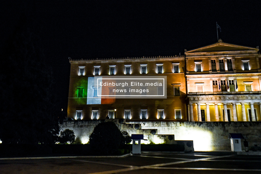 Italian flag is projected on the parliament building in solidarity with Italy, over the coronavirus (COVID-19) pandemic, in Athens, Greece, April 3, 2020.<br /> <br /> Dimitris Lampropoulos    3 April 2020