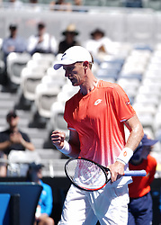 MELBOURNE, Jan. 14, 2019  Kevin Anderson of South Africa reacts during.    men's single's match between Kevin Anderson of South Africa and Adrian Mannarino of France at the 2019 Australian Open at Melbourne Park in Melbourne, Australia, on Jan. 14, 2019.  Kevin Anderson won 3-1. (Credit Image: © Bai Xuefei/Xinhua via ZUMA Wire)