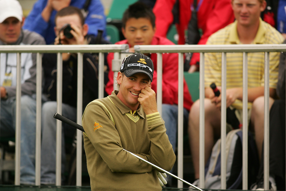 CARNOUSTIE, SCOTLAND - JULY 19: Ian Poulter smiles as he reacts to a lucky bounce at the eighth hole during the first round of the 136th Open Championship in Carnoustie, Scotland at Carnoustie Golf Links on Thursday, July 19, 2007. (Photo by Darren Carroll/Getty Images) *** LOCAL CAPTION *** Ian Poulter