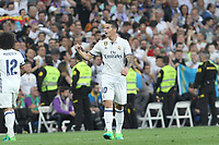 James Rodriguez of Real Madrid celebrates after scoring a goal during the match of La Liga between Real Madrid and Futbol Club Barcelona at Santiago Bernabeu Stadium  in Madrid, Spain. April 23, 2017. (ALTERPHOTOS)