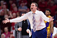 FAYETTEVILLE, AR - MARCH 4:  Head Coach Will Wade of the LSU Tigers reacts to a call during a game against the Arkansas Razorbacks at Bud Walton Arena on March 4, 2020 in Fayetteville, Arkansas.  The Razorbacks defeated the Tigers 99-90.  (Photo by Wesley Hitt/Getty Images) *** Local Caption *** Will Wade