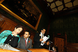 LONDON 9 Nov. 2005...Dr. Maleeha Lodhi and Shahid Malik MPc confer. To their left is Professor Nazir Shawl, Executive Director, Justice Foundation Kashmir Centre....The Justice Foundation Kashmir Centre London together with the All-Party Parliamentary Group (APPG) on Kashmir organised a meeting in the House of Commons entitled ?Kashmir After the Earthquake ? Rebuilding Together.