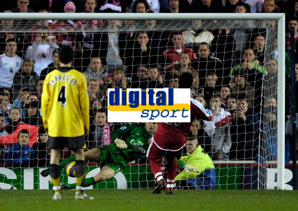 Photo: Jed Wee.<br /> Middlesborough v Arsenal. The Barclays Premiership. 03/02/2007.<br /> <br /> Middlesbrough's Yakubu sends Arsenal goalkeeper Jens Lehmann the wrong way to give them a 1-0 lead from the penalty spot.