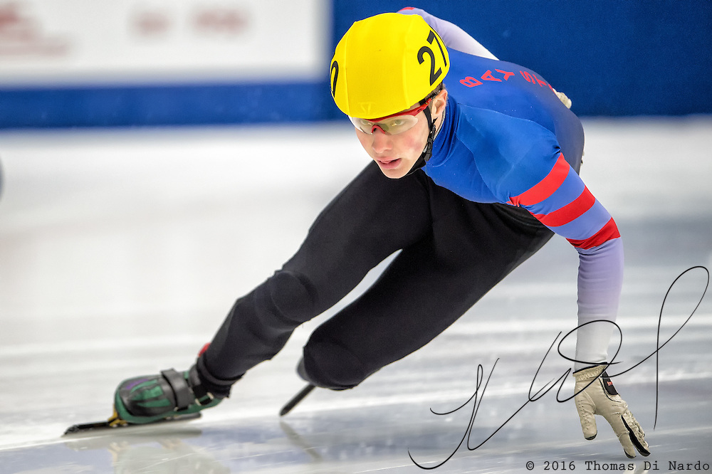 March 18, 2016 - Verona, WI - Jori Kola, skater number 270 competes in US Speedskating Short Track Age Group Nationals and AmCup Final held at the Verona Ice Arena.