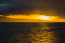 Sunset Over Lanai and Maui Channel from Lahaina, Maui, Hawaii, US