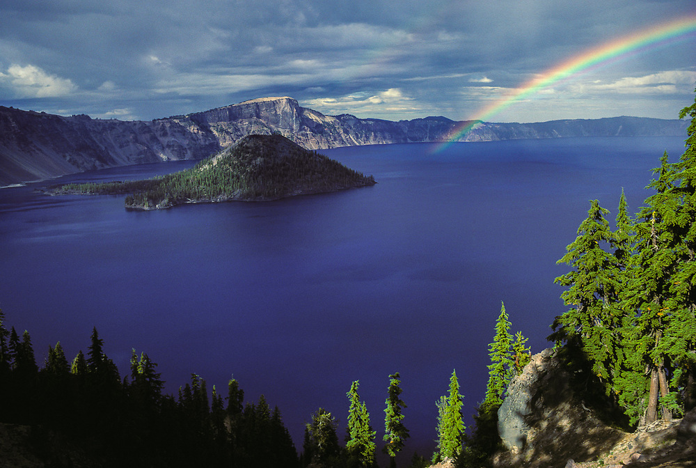 Crater Lake and Wizard Island, summer rain storm, Crater Lake National Park, OR, USA