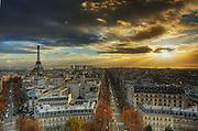 Amazing sunset on Paris Skyline taken from Arc de Triomphe