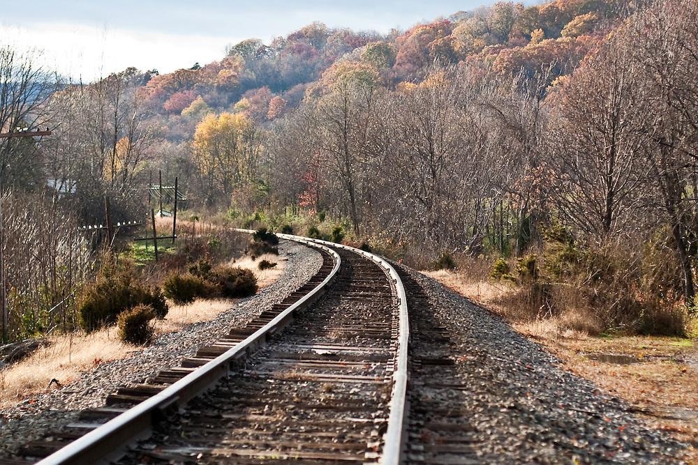 Railroad tracks in Autumn that run through Crozet, Virginia, part of CSX Transportation and the Buckingham Branch Railroad, a Virginia-based short-line railroad.