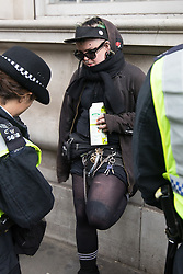 © Licensed to London News Pictures . 01/04/2017 . London , UK . Anti Fascist protesters are detained by police on Whitehall . The EDL and Britain First both hold demonstrations in London , opposed by anti-fascist groups , including Unite Against Fascism . Photo credit : Joel Goodman/LNP