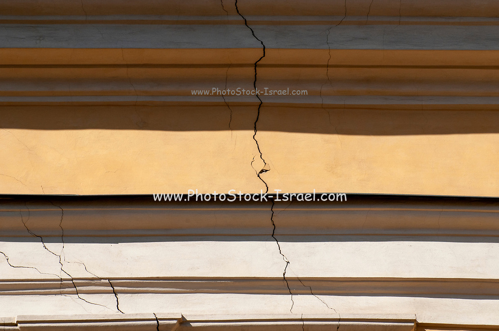 A large crack in a wall Photographed at Sankt Urlichs church, Vienna