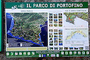 Map and tourist information at Portofino, Golfo del Tigullio, Italian Riviera, Liguria, Italy