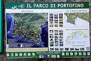 Map and tourist information at Portofino, Golfo del Tigullio, Italian Riviera, Liguria, Italy