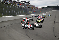 August 19, 2018 - Long Pond, Pennsylvania, United Stated - WILL POWER (12) of Australia battles for position during the ABC Supply 500 at Pocono Raceway in Long Pond, Pennsylvania. (Credit Image: © Justin R. Noe Asp Inc/ASP via ZUMA Wire)