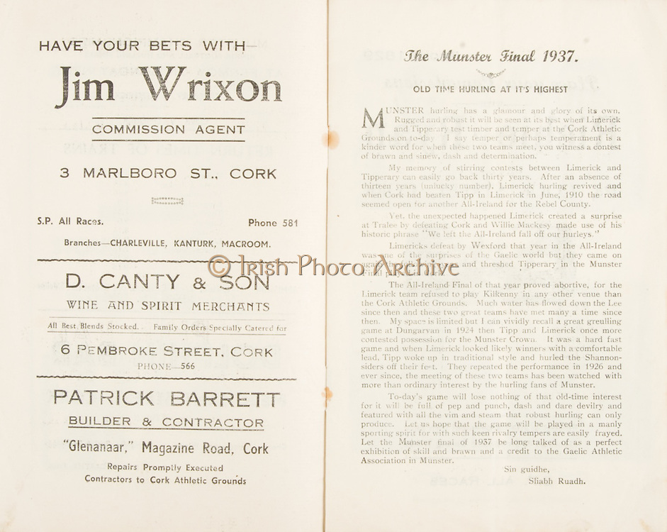 "Munster Minor and Senior Hurling Championship Final, held at Croke Park, Dublin, Ireland. .25.07.1937, 07.25.1937, 25th July 1937,.25071937MSMHCF,...Jim Wrixon Commision agent, 3 Malboro St Cork,..D Canty & Son WIne and spirit merchants, 6 Pembroke St Cork,..Patricj Barrett Builder and Contractor, ""Glenanaar"" Magazine Road Cork,.The Munster Final 1937, ""Old Time Hurling and it's highest"""