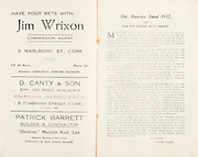 """Munster Minor and Senior Hurling Championship Final, held at Croke Park, Dublin, Ireland. .25.07.1937, 07.25.1937, 25th July 1937,.25071937MSMHCF,...Jim Wrixon Commision agent, 3 Malboro St Cork,..D Canty & Son WIne and spirit merchants, 6 Pembroke St Cork,..Patricj Barrett Builder and Contractor, """"Glenanaar"""" Magazine Road Cork,.The Munster Final 1937, """"Old Time Hurling and it's highest"""""""