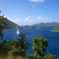 France, Guadeloupe, Les Saintes. Windstar's Flagship Sailing Yacht, the Wind Surf, anchored at Les Saintes, Guadeloupe.