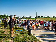 17 JUNE 2020 - NORWALK, IOWA: A Black Lives Matter rally in Elizabeth Holland Park in Norwalk. About 400 supporters of Black Lives Matter marched through Norwalk, IA, an upper class suburb of Des Moines Wednesday. Norwalk has a population of about 10,000 and, according to the US Census Bureau, is 97 percent white. The marchers were protesting police violence against people of color. The march was a reaction to the police killing of George Floyd in Minneapolis in May. The march was peaceful.        PHOTO BY JACK KURTZ