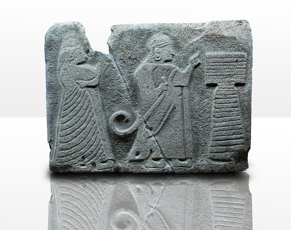 Picture & image of an Imperial Hittite orthostat dshowing a King & Queen before an altar from  Alacahöyük, Alaca Çorum Province,, Turkey. Museum of Anatolian Civilisations, Ankara. Old Bronze age Chalcolithic Period. 3