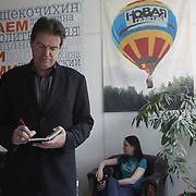 Spiegel reporter Matthias Schepp at the office of  Novaya Gazeta newspaper in Moscow. Novaya Gazeta is one of the few remaining independent media outlets in Russia that dare to challenge the Kremlin, but it has paid a heavy price for its courage. Anna Politkovskaya, the newspaper's most prominent journalist, was gunned down in her apartment block in Moscow in 2006.   ..Picture by Justin Jin.