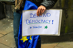 Pictured: <br />Protestors gathered ahead of the decision which is expected in case of campaigners seeking courts to force Article 50 extension. Campaigners are seeking a court order to force the Prime Minister to ask the EU for an extension to Article 50 if he fails to get a new deal passed at Westminster by October 19. Judge Lord Pentland was expected to announce his decision on the case at lunchtime.<br />Ger Harley   EEm 7 October 2019