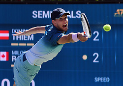 March 16, 2019 - Indian Wells, CA, U.S. - INDIAN WELLS, CA - MARCH 15: Dominic Thiem (AUT) misses a serve in the first set of a semifinals match played during the BNP Paribas Open at the Indian Wells Tennis Garden in Indian Wells, CA.  (Photo by John Cordes/Icon Sportswire) (Credit Image: © John Cordes/Icon SMI via ZUMA Press)