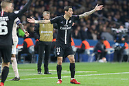 Angel Di Maria of Paris Saint-Germain disputes a decision and gestures during the Champions League Round of 16 2nd leg match between Paris Saint-Germain and Manchester United at Parc des Princes, Paris, France on 6 March 2019.