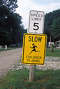 Bright yellow Children Playing sign