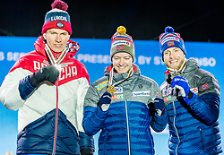 23.02.2019, Medal Plaza, Seefeld, AUT, FIS Weltmeisterschaften Ski Nordisch, Seefeld 2019, Skiathlon, Herren, 30km, Siegerehrung, im Bild Silbermedaillengewinner Alexander Bolshunov (RUS), Weltmeister und Goldmedaillengewinner, Sjur Roethe (NOR), Bronzemedaillengewinner Martin Johnsrud Sundby (NOR) // Silver medalist Alexander Bolshunov of Russian Federation World champion and Gold medalist Sjur Roethe of Norway and Bronce medalist Martin Johnsrud Sundby of Norway during the winner Ceremony for the men's 30km Skiathlon competition of FIS Nordic Ski World Championships 2019 at the Medal Plaza in Seefeld, Austria on 2019/02/23. EXPA Pictures © 2019, PhotoCredit: EXPA/ Stefan Adelsberger