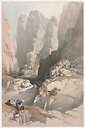 Entrance to Petra, the Theatre Color lithograph by David Roberts (1796-1864). An engraving reprint by Louis Haghe was published in a the book 'The Holy Land, Syria, Idumea, Arabia, Egypt and Nubia. in 1855 by D. Appleton & Co., 346 & 348 Broadway in New York.