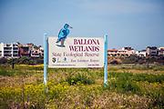 Ballona Wetlands with wildflowers, Playa Del Rey, Los Angeles, California, USA