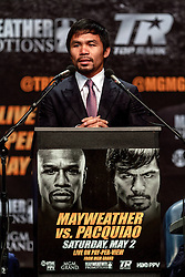 LOS ANGELES, CA - MAR 10 Manny Pacquiao speaks to press at the Mayweather vs Pacquiao press conference at the Nokia Theater in Los Angeles, California USA to promote their upcoming bout at the MGM Grand in Las Vegas, NV May 2, 2015. This is the ony presser. 2015 Feb 9. Byline, credit, TV usage, web usage or linkback must read SILVEXPHOTO.COM. Failure to byline correctly will incur double the agreed fee. Tel: +1 714 504 6870.
