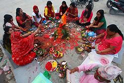 KATHMANDU, Sep. 6, 2016 (Xinhua) -- Hindu women offer prayers on the bank of Bagmati River during the Rishi Panchami festival in Kathmandu, Nepal, Sep. 6, 2016. Rishi Panchami festival marks the end of the three-day Teej festival when women worship Sapta Rishi (Seven Saints) and pray for health for their husbands while unmarried women wish for handsome husbands and happy conjugal lives. (Xinhua/Sunil Sharma).****Authorized by ytfs* (Credit Image: © Sunil Sharma/Xinhua via ZUMA Wire)