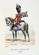 Trumpeter of the King's Mounted Grenadiers, 1814-1815. From 'Histoire de la maison militaire du Roi de 1814 a 1830' by Eugene Titeux, Paris, 1890.
