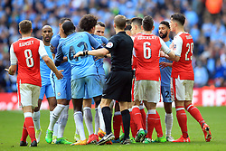 23 April 2017 - The FA Cup - Semi Final - Arsenal v Manchester City - A scuffle breaks out after a challenge from Alexis Sanchez of Arsenal on Fabian Delph of Manchester City - Photo: Marc Atkins / Offside.