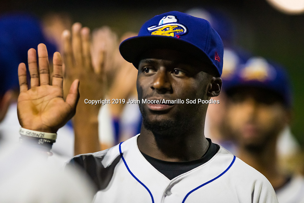 Amarillo Sod Poodles outfielder Taylor Trammell (7) against the Midland RockHounds on Tuesday, Aug. 13, 2019, at HODGETOWN in Amarillo, Texas. [Photo by John Moore/Amarillo Sod Poodles]