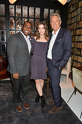 Left to right, JULIUS ROBINSON vice president of Autograph Collection Hotels,  SAI BENNETT and JOHN LICENCE Brand Leader for Autograph Collection Hotels at a dinner hosted by Autograph Collection Hotels held at 19 Greek Street, Soho, London on 12th October 2016.