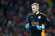 Leicester City Goalkeeper Kasper Schmeichel looks on. Premier League match, Liverpool v Leicester City at the Anfield stadium in Liverpool, Merseyside on Saturday 30th December 2017.<br /> pic by Chris Stading, Andrew Orchard sports photography.