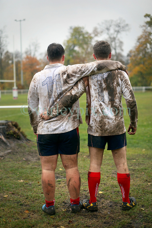 10 November 2018. Rugby Club Compiègne. Compèigne, Somme, France.<br /> Tournio Rugby de l'Armistice.<br /> A rugby tournament in the heart of the Somme region in honour of those who perished in the Great War100 years ago.<br /> <br /> Wales v Germany, U18 rugby. <br /> 11/11. L/R; Lewis Jones and Toby Wright of Llandovery College U18 Rugby team stand together. The shirts have the names of those who perished in the Great War written inside the number 11's. <br /> <br /> Photo©; Charlie Varley/varleypix.com