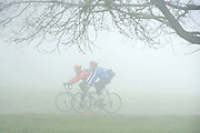 © Licensed to London News Pictures. 13/03/2014. Richmond, UK Cyclists make their way through the park. Deer graze and feed in the heavy fog at Richmond Park, Surrey, today 13th March 2014. Photo credit : Stephen Simpson/LNP