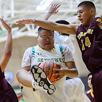 Newcomb Skyhawk Pernell Yazzie (33) grabs a rebound away from Tohatchi Cougar Austin Haley (14) Saturday at Newcomb High School.