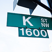 Street sign for K Street NW, where a large number of Washington lobbyists have their offices close to the White House