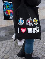 Bialystok, 13.01.2019. 27. Final Wielkiej Orkiestry Swiatecznej Pomocy ( WOSP ) N/z torba z logo WOSP fot Michal Kosc / AGENCJA WSCHOD