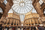 People stroll through Galleria Vittorio Emmanuele II, the centre of luxury shopping in central Milan, on 6th December 2008 in Milan, Italy. The Galleria is known affectionately as the living room of Milan because of its popularity as a meeting place, and hosts the original Prada store.