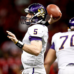 December 22, 2012; New Orleans, LA, USA; East Carolina Pirates quarterback Shane Carden (5) against the Louisiana-Lafayette Ragin Cajuns during the first quarter of the New Orleans Bowl at the Mercedes-Benz Superdome. Mandatory Credit: Derick E. Hingle-USA TODAY Sports